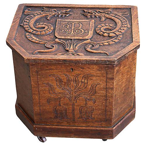 Carved Oak Storage Box, 1904