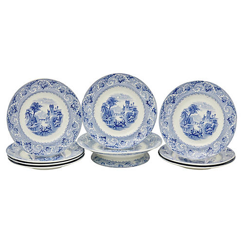 Antique Staffordshire Serving Set, 9 Pcs