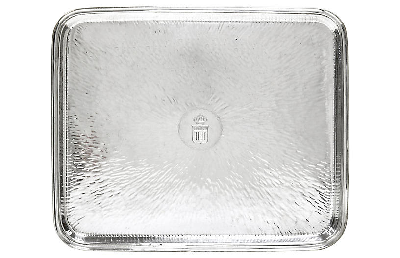 Antique French Crested Hotel Ware Tray