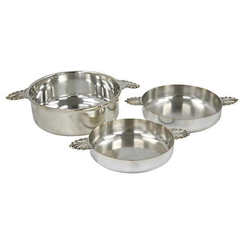 French Hotelware Silver-Plate Bowls,S/3