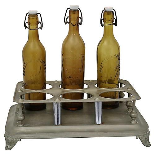 Antique French Bistro Bottle Rack, 4 pcs