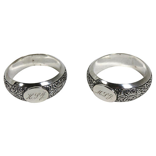 1850s Coin Silver Napkin Rings, Pair