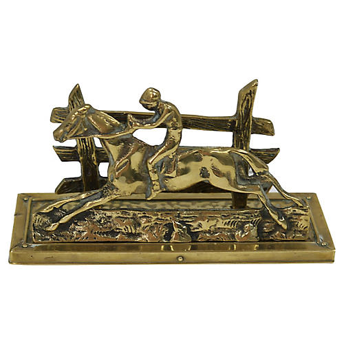 Antique Brass Horse/Jockey Letter Holder