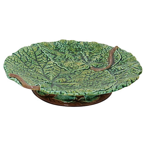 Antique Majolica Footed Cake/Cheese Dish