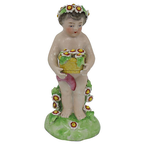 Antique French Porcelain Garden Cherub