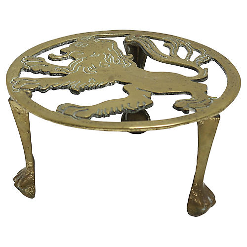 Antique Welsh Lion Brass Trivet