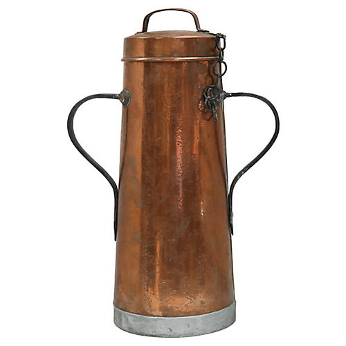 Antique French Copper Tall Water Bucket