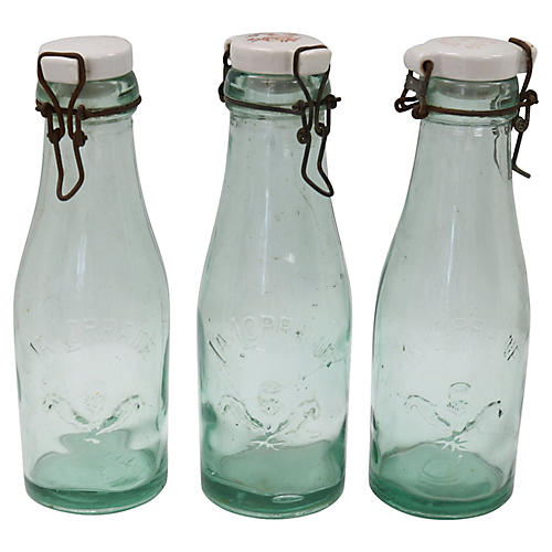 Antique French Canning Bottles, 3Pcs