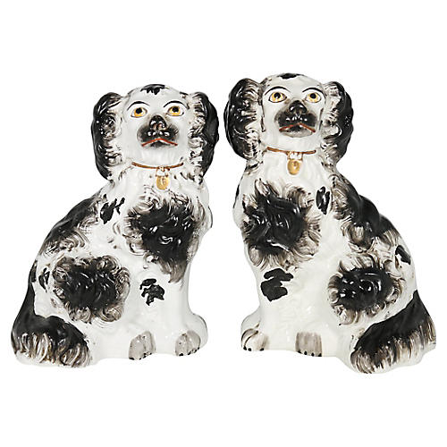 Antique English Staffordshire Dogs, Pair