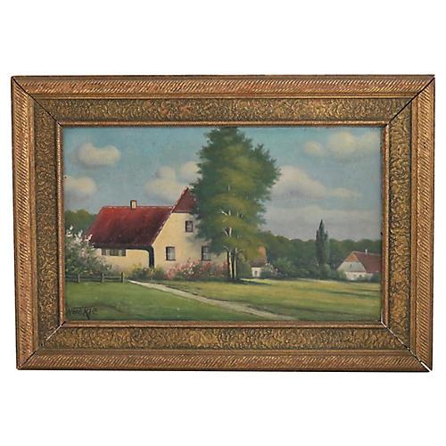 New England Farm Oil Painting
