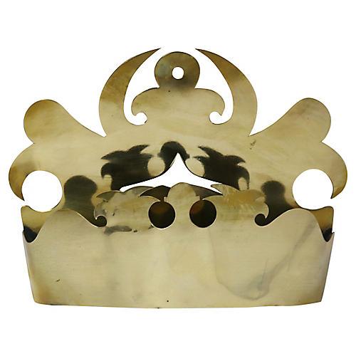 Antique Brass Crown Wall Pocket