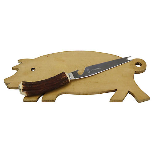 Pig Cheese Board w/Antler Cheese Knife