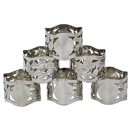 English Silver-Plate Napkin Rings, S/6
