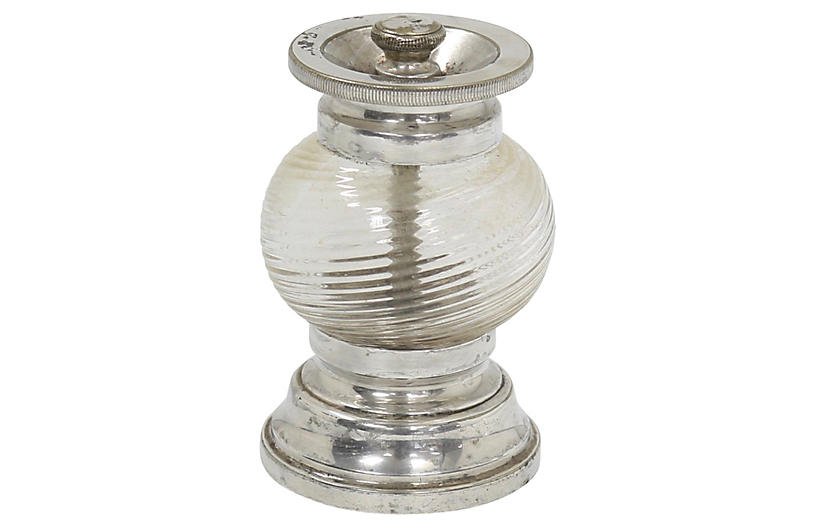 English Deco Art Glass Pepper Grinder