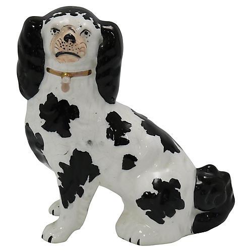 Antique Staffordshire King Charles Dog