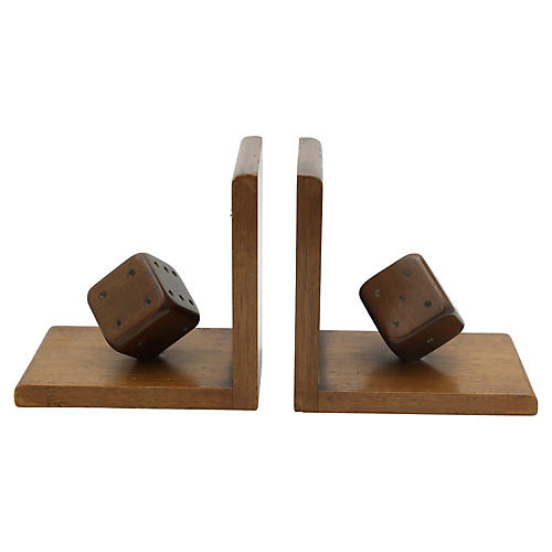 Midcentury Wood Dice Bookends, Pair