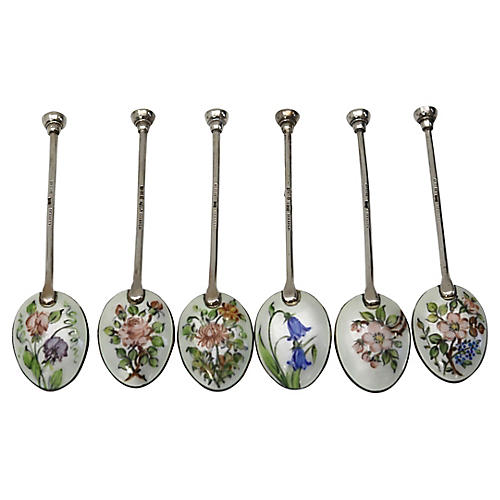 Walker & Hall Sterling Enamel Spoons S/6