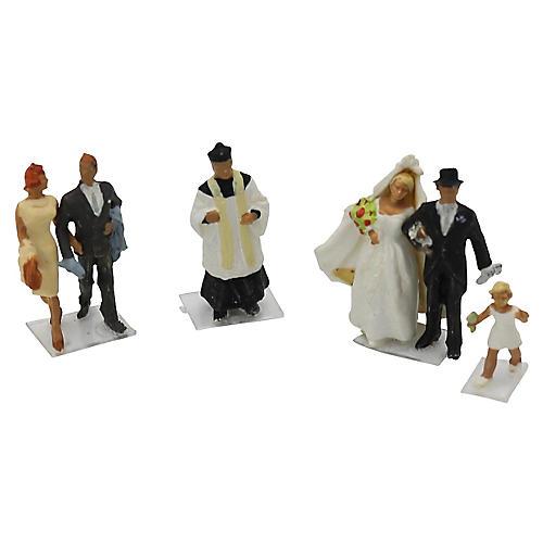 1960s French Wedding Cake Figures, 4 Pcs
