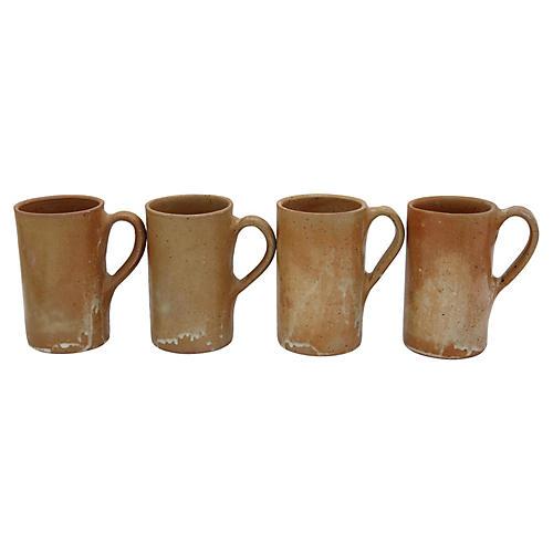 Mid-Century French Stoneware Mugs, S/4