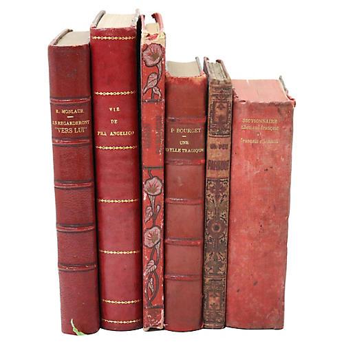 Antique French Red Decorative Books, S/6