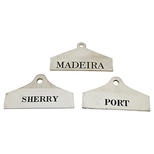 Antique Wedgwood Wine Barrel Tags, S/3