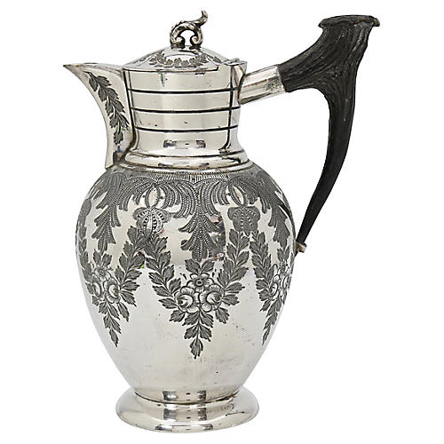 Antique Silver-Plate/ Stag Horn Wine Jug