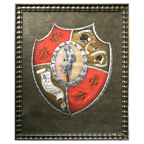 Antique Family Crest w/Chronicle of Dogs