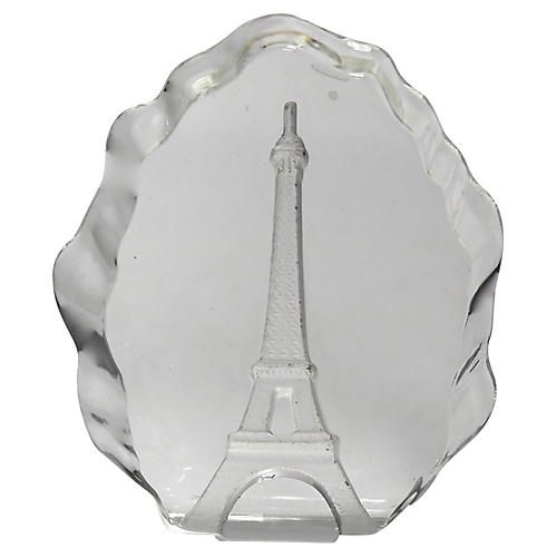 1950s Crystal Eiffel Tower Paper Weight