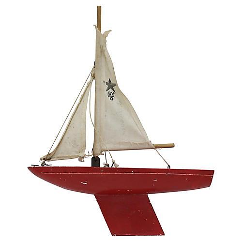Mid-Century Miniature Pond Boat