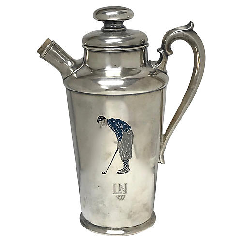 1927 Silverplate Golf Cocktail Shaker