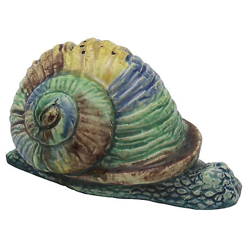 Antique French Majolica Snail Coin Bank