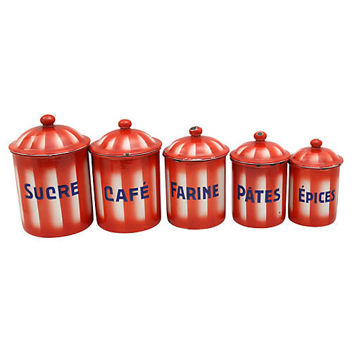 French Enamelware Kitchen Canisters, S/5