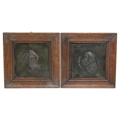 Antique Dickens Copper Plaques, Pair