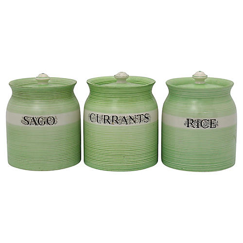 1930s English Green Baking Canisters,S/3