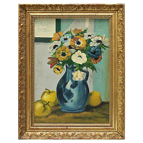 Mid-Century Oil French Floral Still Life