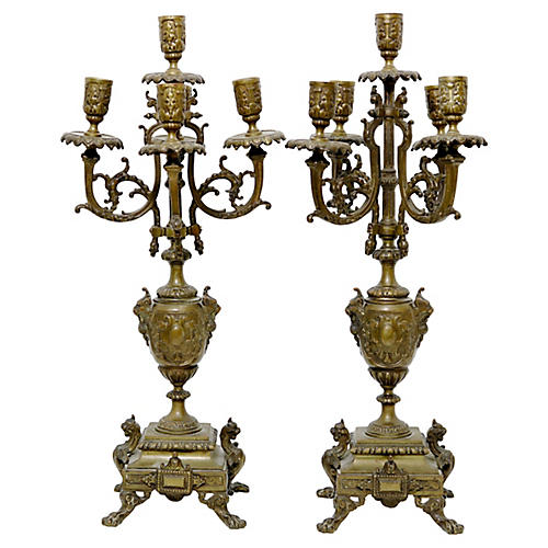 Antique French Candelabras, Pair