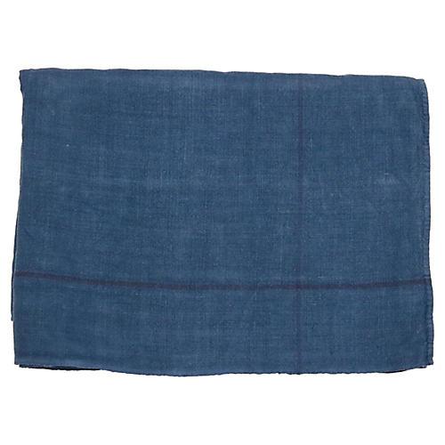Antique French Indigo Linen Tablecloth