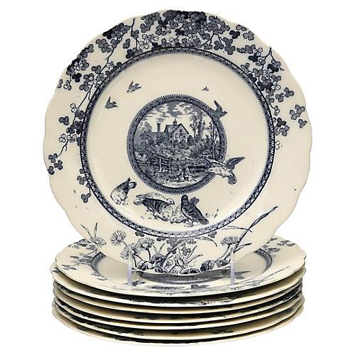Aesthetic Movement Dinner Plates, S/8