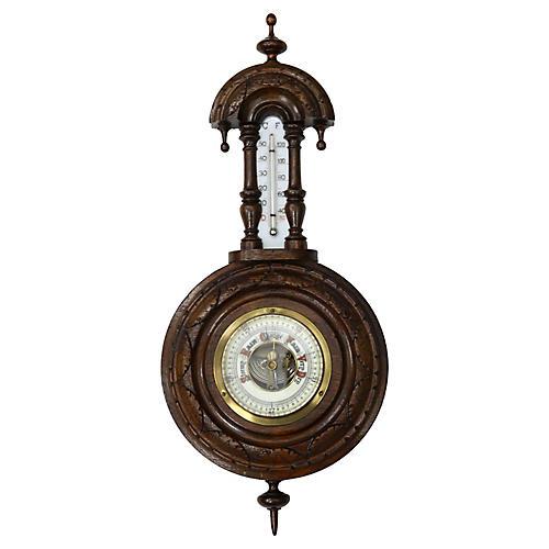 Antique English Carved Wood Barometer