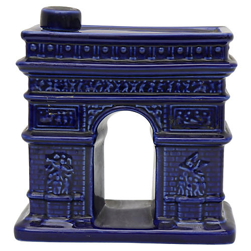 French Majolica Arc De Triomphe Decanter