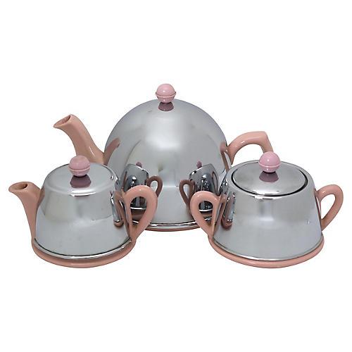 Mid-Century Chrome & Pink Tea Set, 3 Pcs