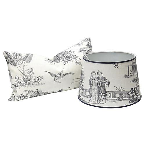 French Linen Lampshade & Lumbar Pillow