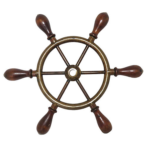 Antique Brass & Wood Ships Wheel