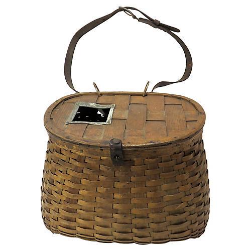 Antique Splint Basket Fishing Krill