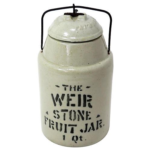 Antique Stoneware 1 Quart Food Jar