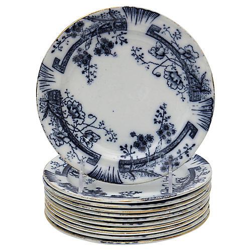 Antique Flow Blue Salad Plates, S/11