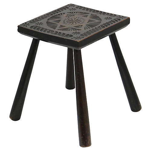 Antique English Hand-Carved Stool