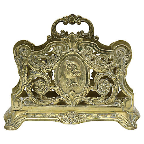 Antique French Brass Letter Holder