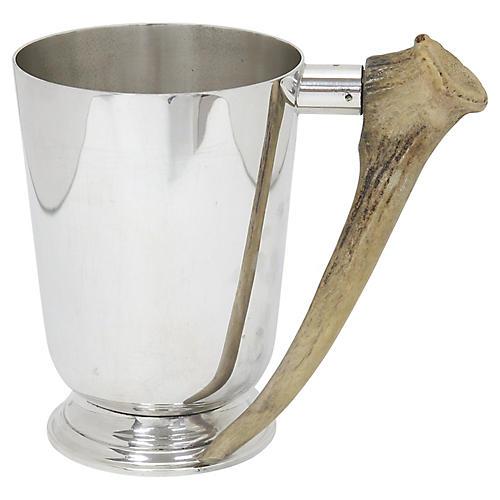 Horn Handled Silver-Plate Pint Tankard
