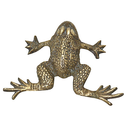 Antique English Brass Frog Paperweight
